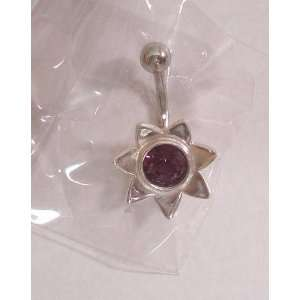 Purple Gem Surgical Steel Flower Belly Ring