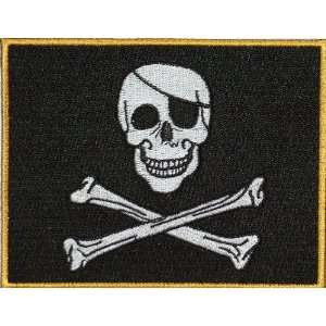 Skull and Crossbones Jolly Roger Flag Embroidered Patch 13cm x 10cm