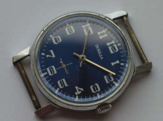SOVIET POBEDA WATCH CHROMED CASE NICE BLUE DIAL