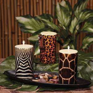 JUNGLE NIGHTS Safari Pillar Animal Print 3 x 5 Column Candles