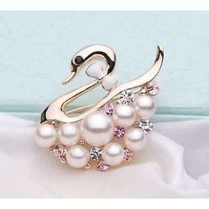 Swan and Pearl White and Pink Rhinestone Crystal Brooch