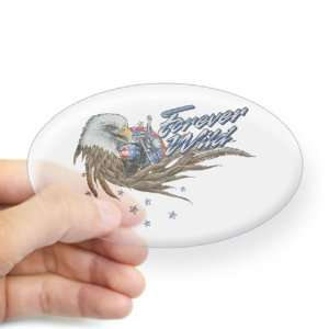 Sticker Clear (Oval) Forever Wild Eagle Motorcycle and US