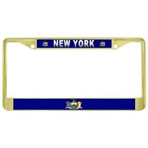 New York State Flag Gold Tone Metal License Plate Frame