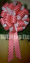 12 RED GREEN GOLD STRIPE 8 PULL BOWS GIFT CHRISTMAS WREATH TREE