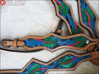 WESTERN HAND PAINTED LEATHER HORSE BRIDLE HEADSTALL BREAST COLLAR