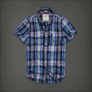 NWT Abercrombie HCO Mens Plaid Shirt S XXL Button Down Muscle Top