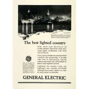 1924 Ad General Electric Mazda Lamps New York City Skyline