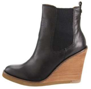 LUCKY BRAND Leather Wedge Ankle Boots in Black & Brown