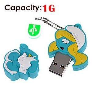 1G Rubber USB Flash Drive with Shape of Smurfs (Blue) Electronics