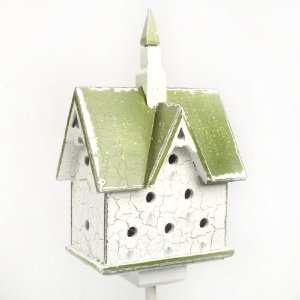 Mini Green Roof Steeple Bird House Stake Patio, Lawn & Garden