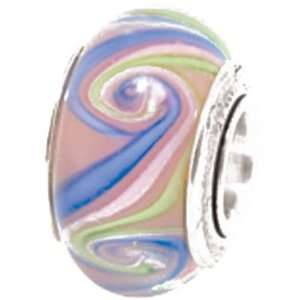 Reflections Kids Sterling Silver Light Blue Hand Blown Glass Bead