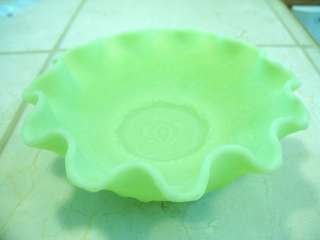 Vintage Fenton Glass Crimped Satin Custard Green Bowl Cherry & Sweet