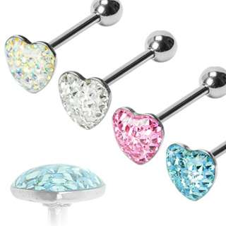 GEM PAVED HEART BARBELL EPOXY 14G 5/8 STEEL TONGUE RING PIERCING