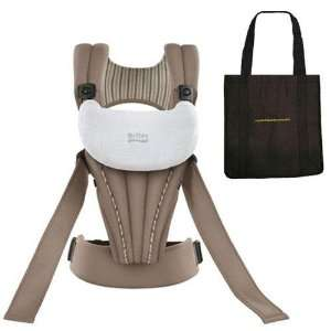 Organic Baby Carrier in Tan with a Black Non Organic Tote Carry Bag