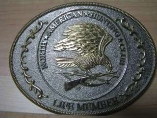 North American Hunting Club Life Member Bald Eagle Rifle Belt Buckle