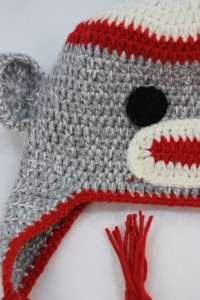 NEW GREY BABY SOCK MONKEY KNIT CROCHET HAT HANDMADE CAP