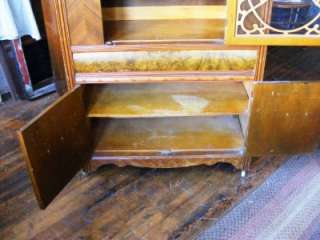 1940s Art Deco Waterfall China Cabinet Wood Wooden Gingerbread Trim