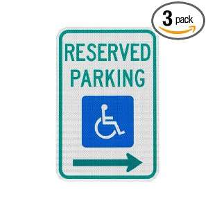 Handicapped Parking Sign, Reserved Parking with Right Arrow 12 x