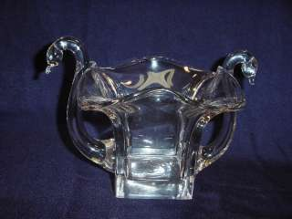 1920s ART DECO Hand Blown Crystal Glass Double Swan Square Vase