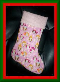 Handmade Christmas Stocking ~ Owls on Pink