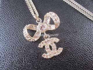 Auth CHANEL 11P Princess Gold Crystal Bow Necklace