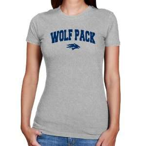 Nevada Wolf Pack Ladies Ash Logo Arch Slim Fit T shirt