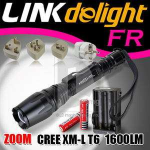 XML T6 LED Zoomable Flashlight Torch Set + 2x 18650 Battery +Charger