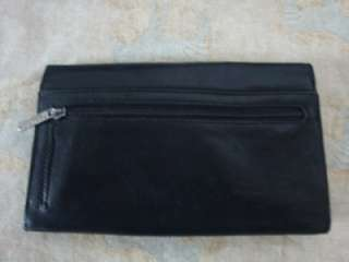 KENNETH COLE REACTION BLACK LEATHER CLUTCH WALLET PURSE