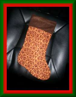 Handmade Christmas Stocking ~ Brown Leopard Print