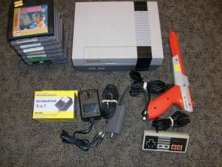 Original Nintendo NES System lot w/ 10 games bundle complete deck gun