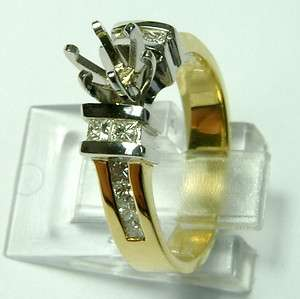 GENUINE 14K TWO TONE GOLD DIAMOND ENGAGEMENT RING SEMI MOUNT