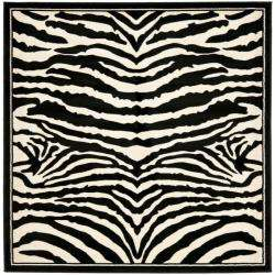 Lyndhurst Collection Zebra Black/ White Rug (8 Square)