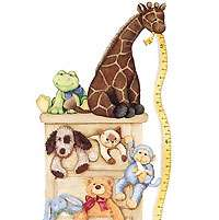 NURSERY Toddler WALL ACCENT Growth Chart+ANIMALS MURAL