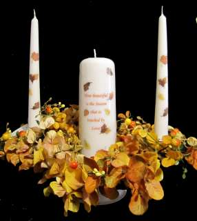 Fall Autumn Leaves Poem Unity Candle Set   READY TO SHIP