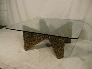 Unique Mid Century Modern Glass Top Coffee Table (3345)r.