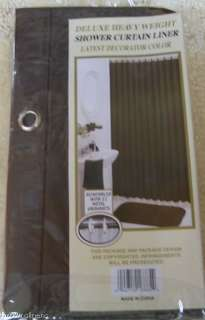 HEAVY DUTY SHOWER LINER W/MAGNETS & GROMMETS BROWN