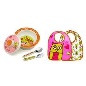 Sugarbooger Covered Bowl, Silverware, and 2 Bibs Set Hoot Hoot Owl
