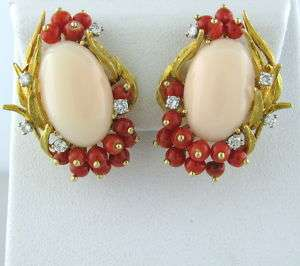 VINTAGE IMPRESSIVE 18K GOLD CORAL DIAMOND EARRINGS