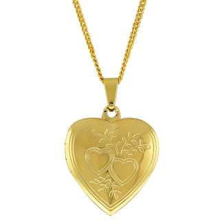 Gold Tone Double Heart Locket Figaro Pendant With 18 Chain