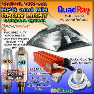 Digital 1000 watt HPS MH GROW LIGHT SYSTEM w Sun Lamps