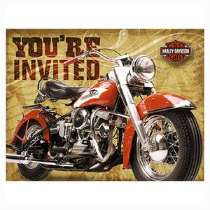 ct HARLEY DAVIDSON Motorcycle Birthday Party Invitations Supplies