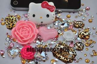 Deco Kit Hello Kitty Leopard DIY Crystal Bling Case Cover For iPhone