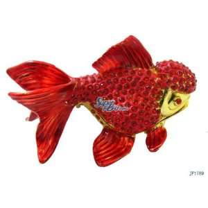 Red Goldfish Crystal Bejeweled Diamond Jewelry Trinket Box
