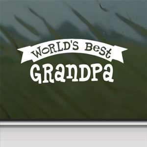 Worlds Best Grandpa White Sticker Car Vinyl Window Laptop