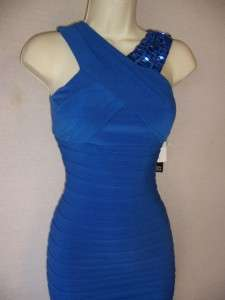 Blue Beaded Shutter Pleat Stretch Jersey Cocktail Dress 8 NWT