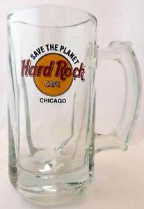 Hard Rock Cafe Heavy Glass Beer Mug Chicago Illinois Logo Souvenir