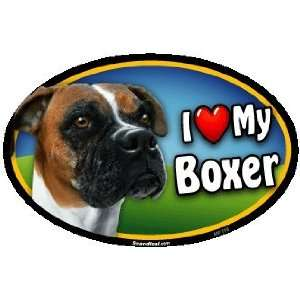 Oval Car Magnet   I Love My Boxer