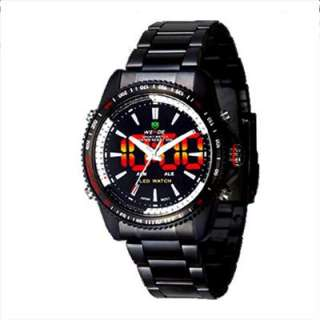 WEIDE NEW BLACK 2 TIME LED LIGHT DIVE MENS SPORT WATCH