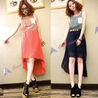 New fashion irregular women girl chiffon swallow tail dress Pleated