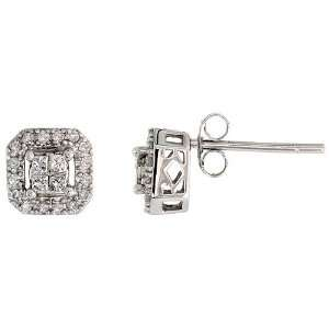 14k White Gold Square Diamond Earrings, w/ 0.30 Carat Brilliant Cut